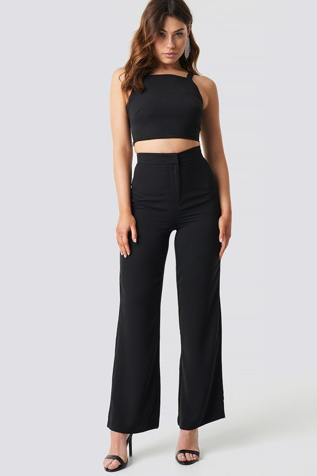 Wide Leg High Waist Pants Black