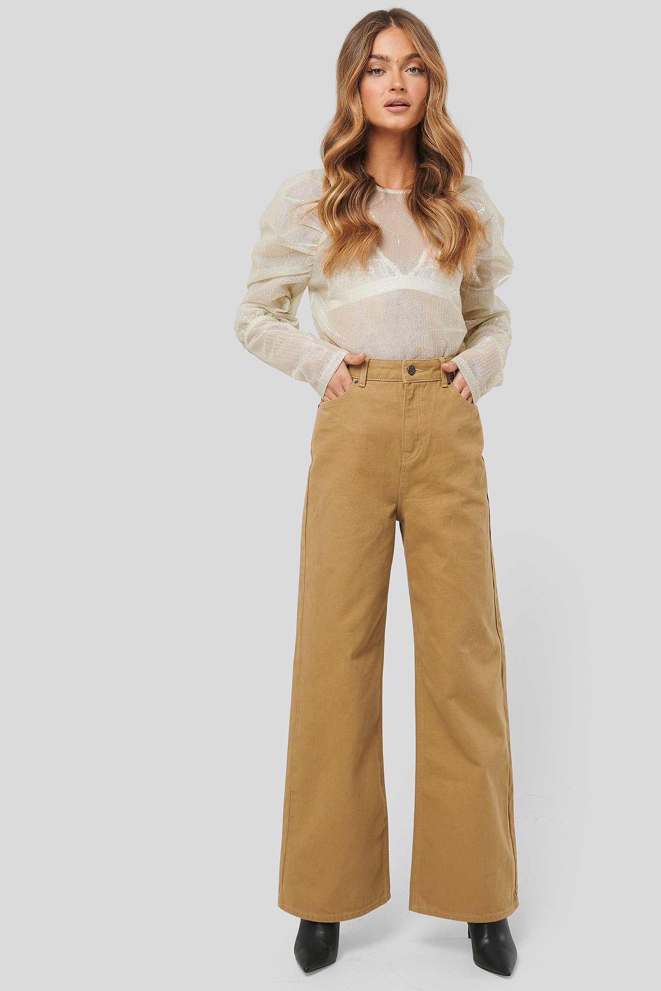 Beige Wide Leg High Waisted Jeans