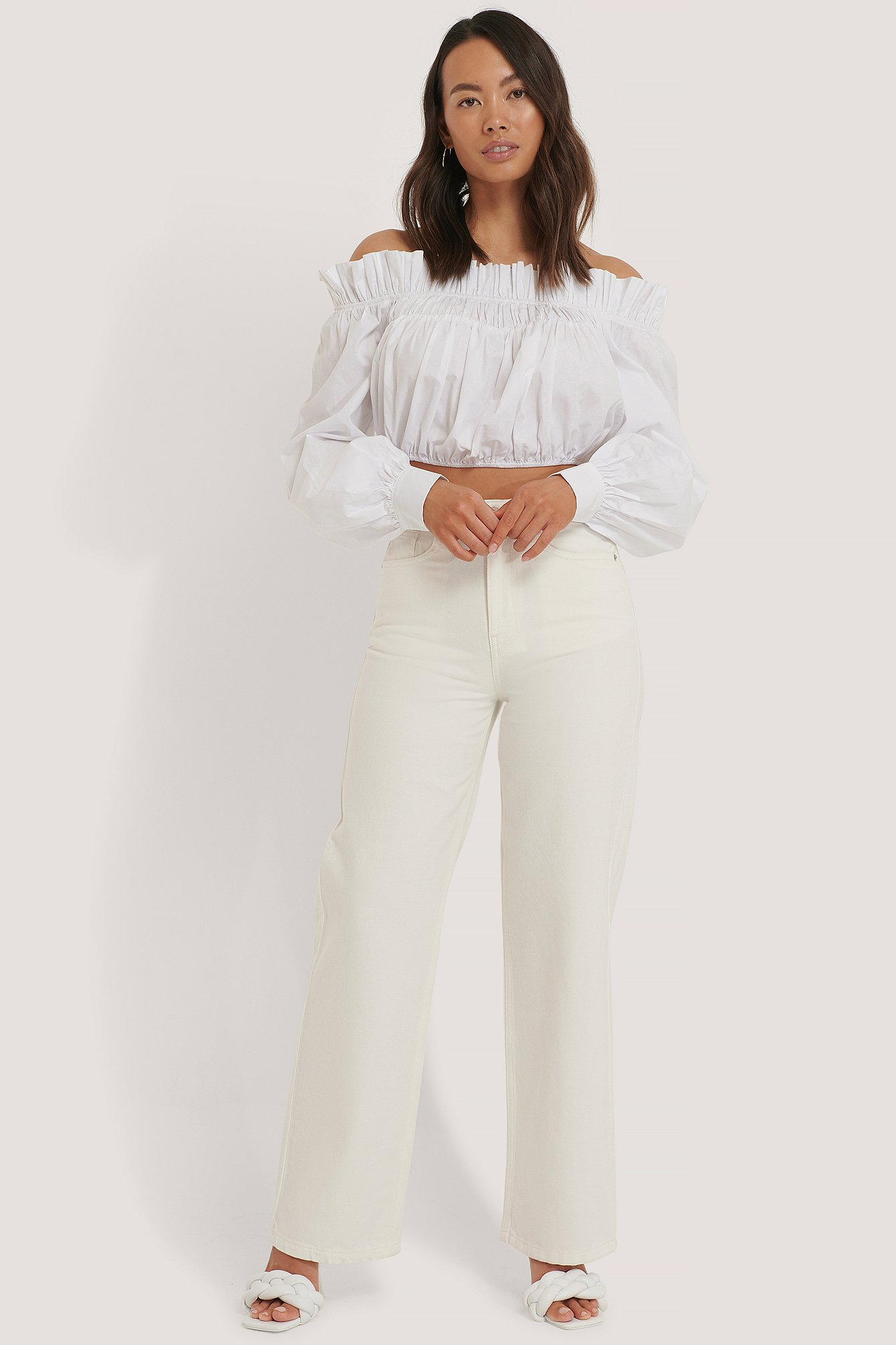 NA-KD Trend Denim-Jeans Mit Weiten Beinen Und Hoher Taille - Offwhite   Bekleidung > Jeans > Sonstige Jeans   NA-KD Trend
