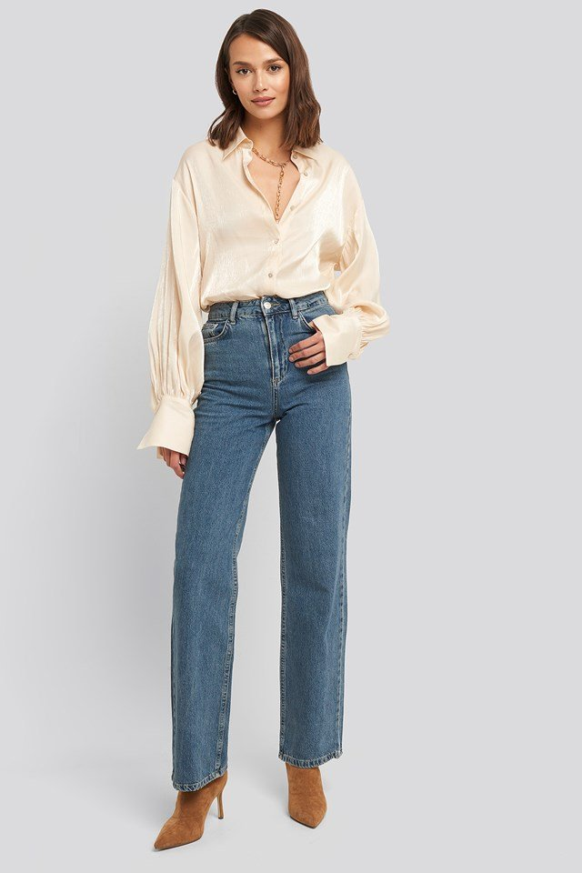 Wide Leg Highwaisted Denim Mid Blue