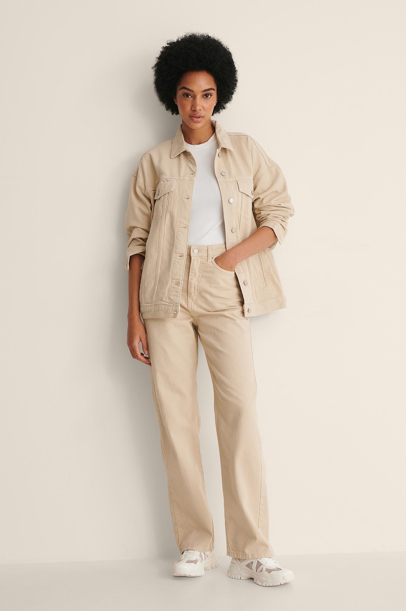 NA-KD Trend Økologiske højtaljede denimbukser med vide ben - Beige