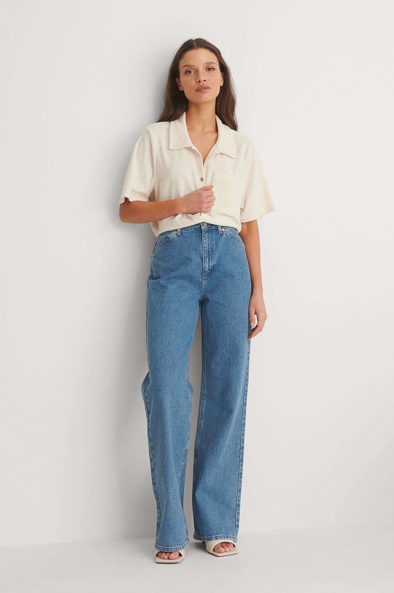 NA-KD Reborn Økologiske Jeans Med Vide Ben - Blue