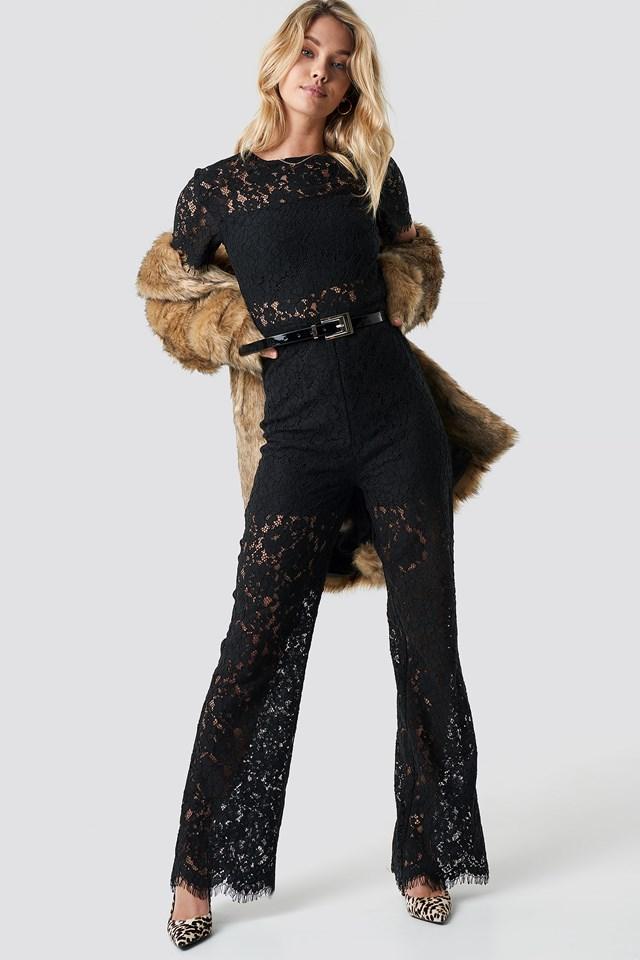 Wide Leg Lace Jumpsuit Black