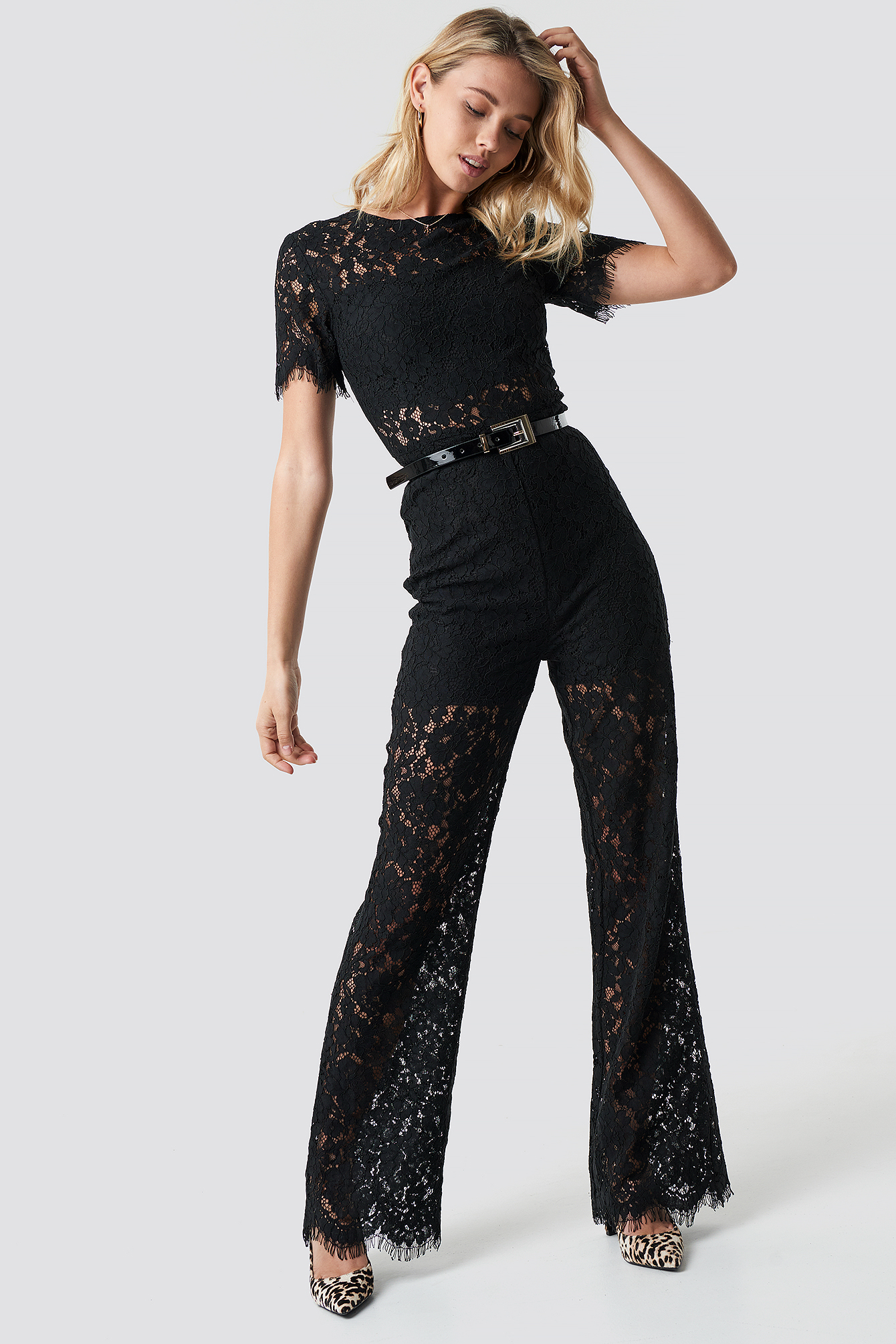 Wide Leg Lace Jumpsuit NA-KD.COM