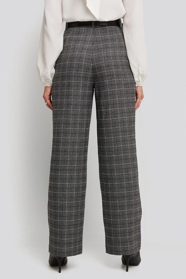 Wide Leg Plaid Suit Pants Grey Check
