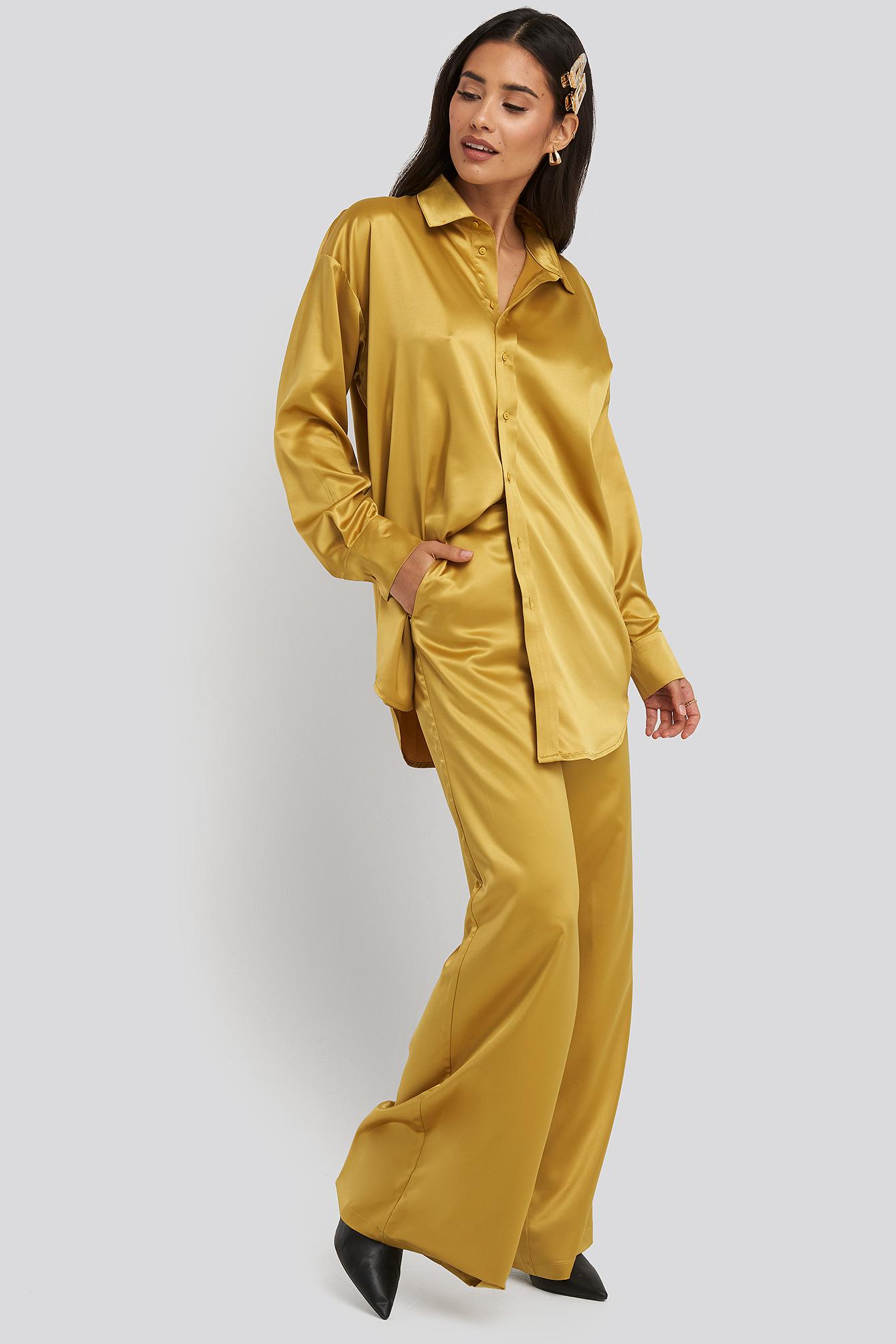 na-kd party -  Wide Leg Satin Pants - Gold
