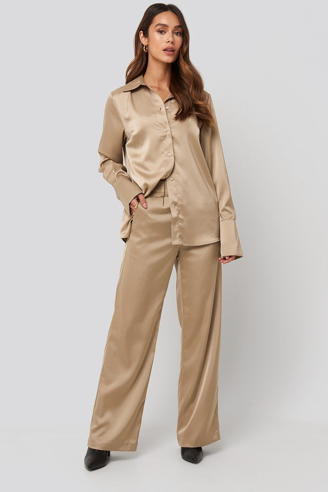 Wide Leg Satin Suit Pants Beige