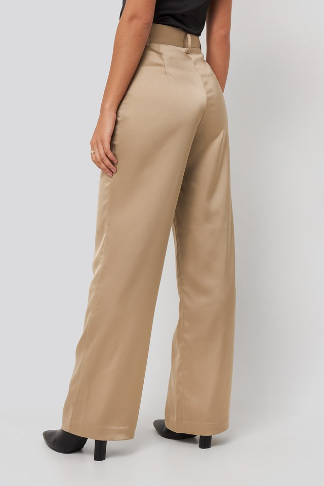 Wide Leg Satin Suit Pants Beige