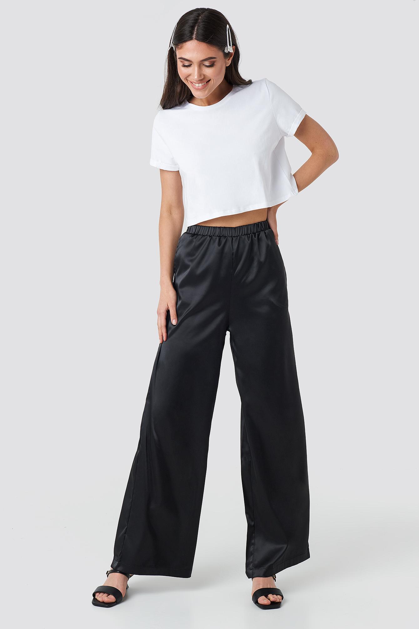 na-kd party -  Wide Leg Satin Trousers - Black