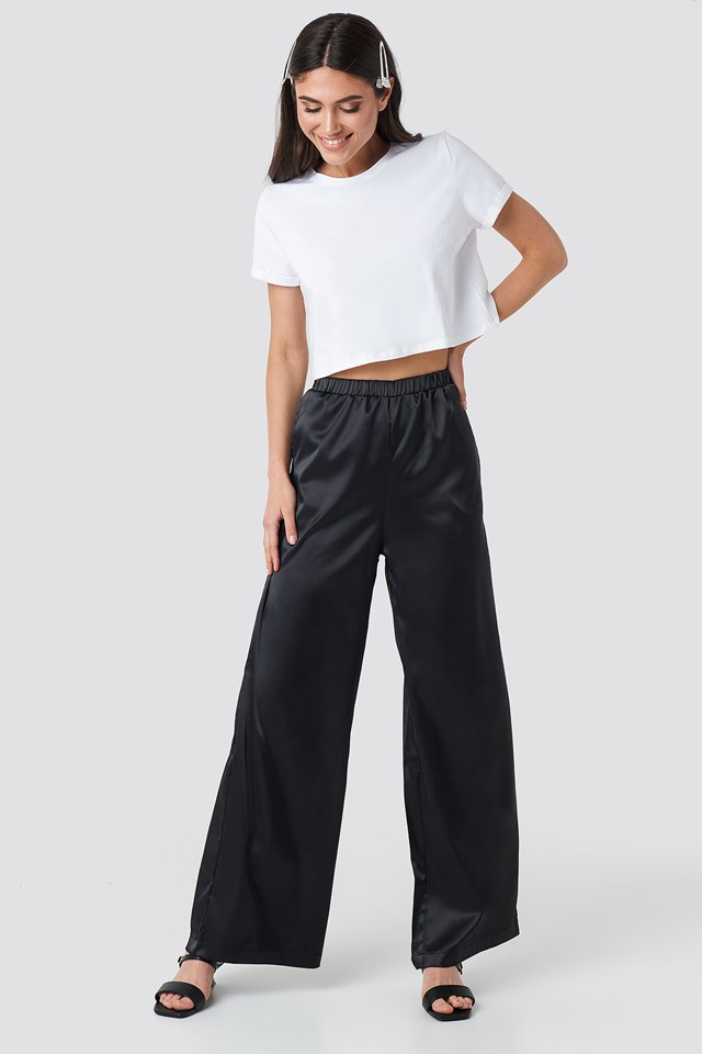 Wide Leg Satin Trousers NA-KD.COM