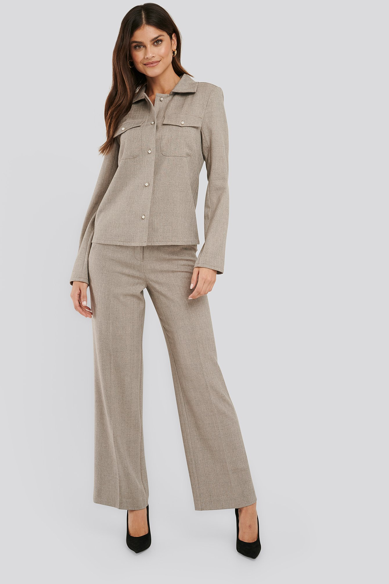 na-kd classic -  Anzughose Mit Weiten Beinen - Grey