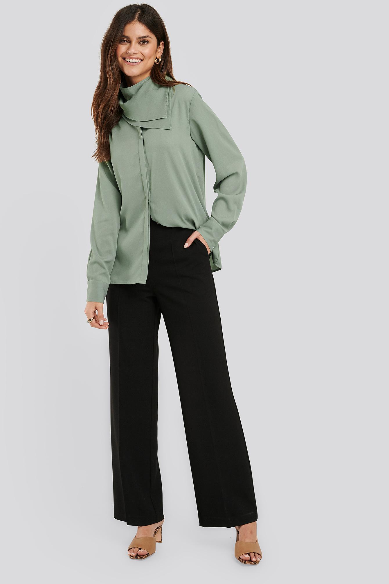 na-kd classic -  Anzughose Mit Weiten Beinen - Black