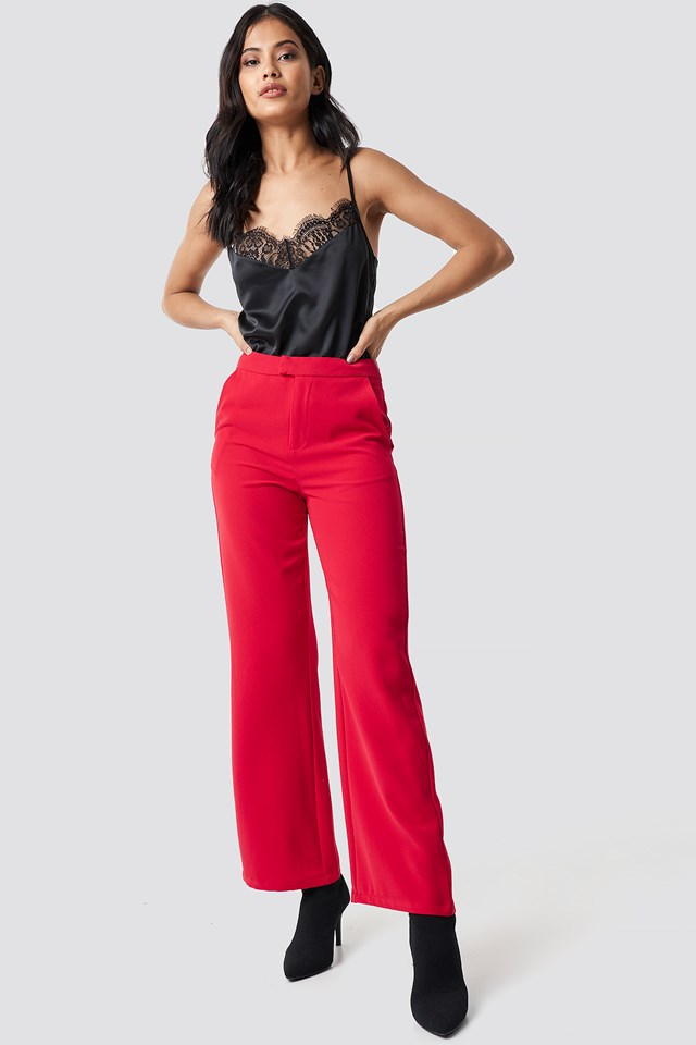 Wide Leg Tailored Pants Red