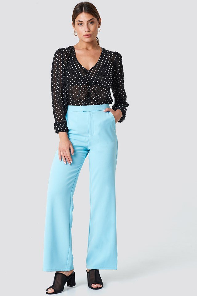 Wide Leg Tailored Pants Light Blue