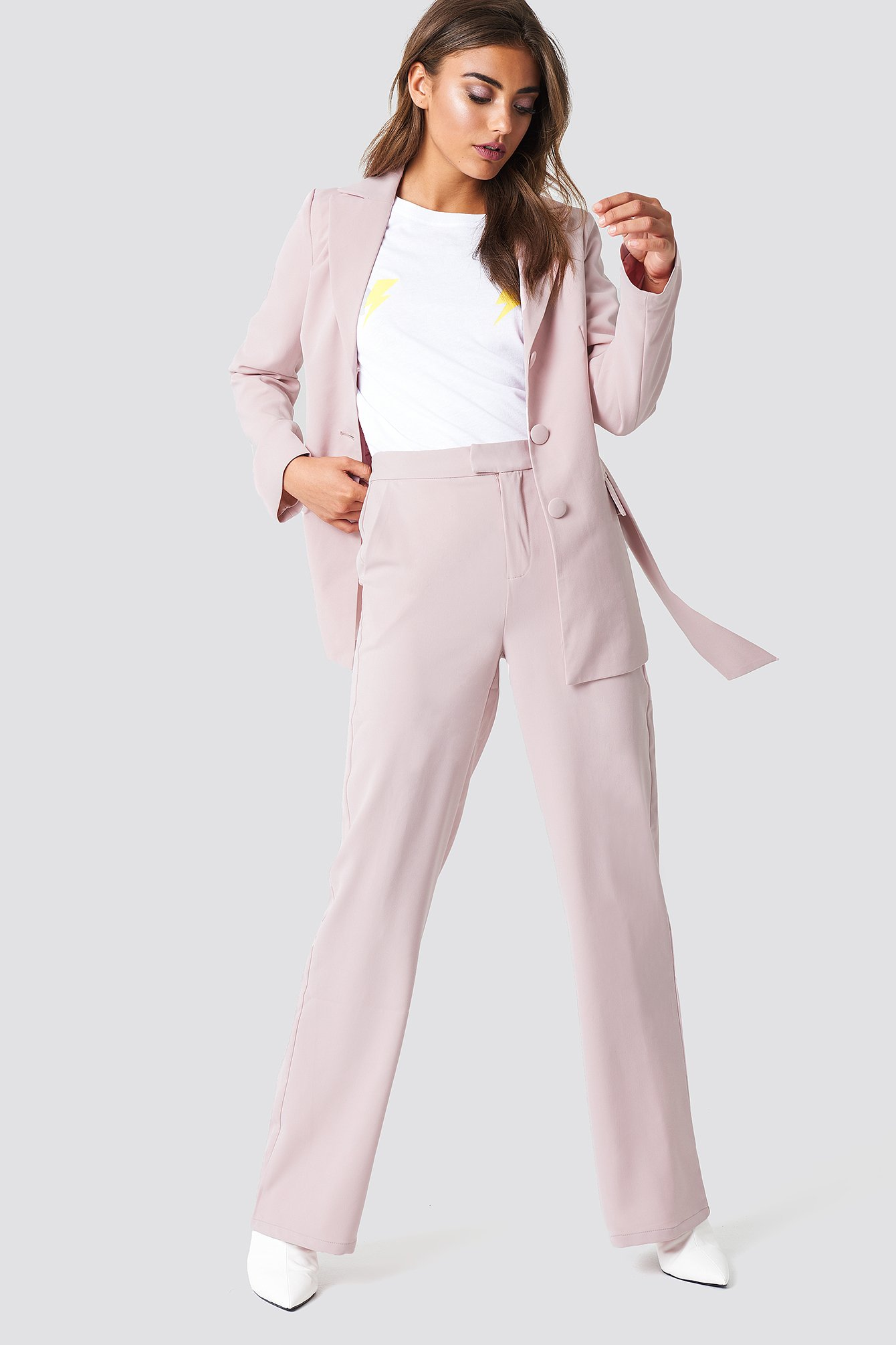 WIDE LEG TAILORED PANTS - PINK