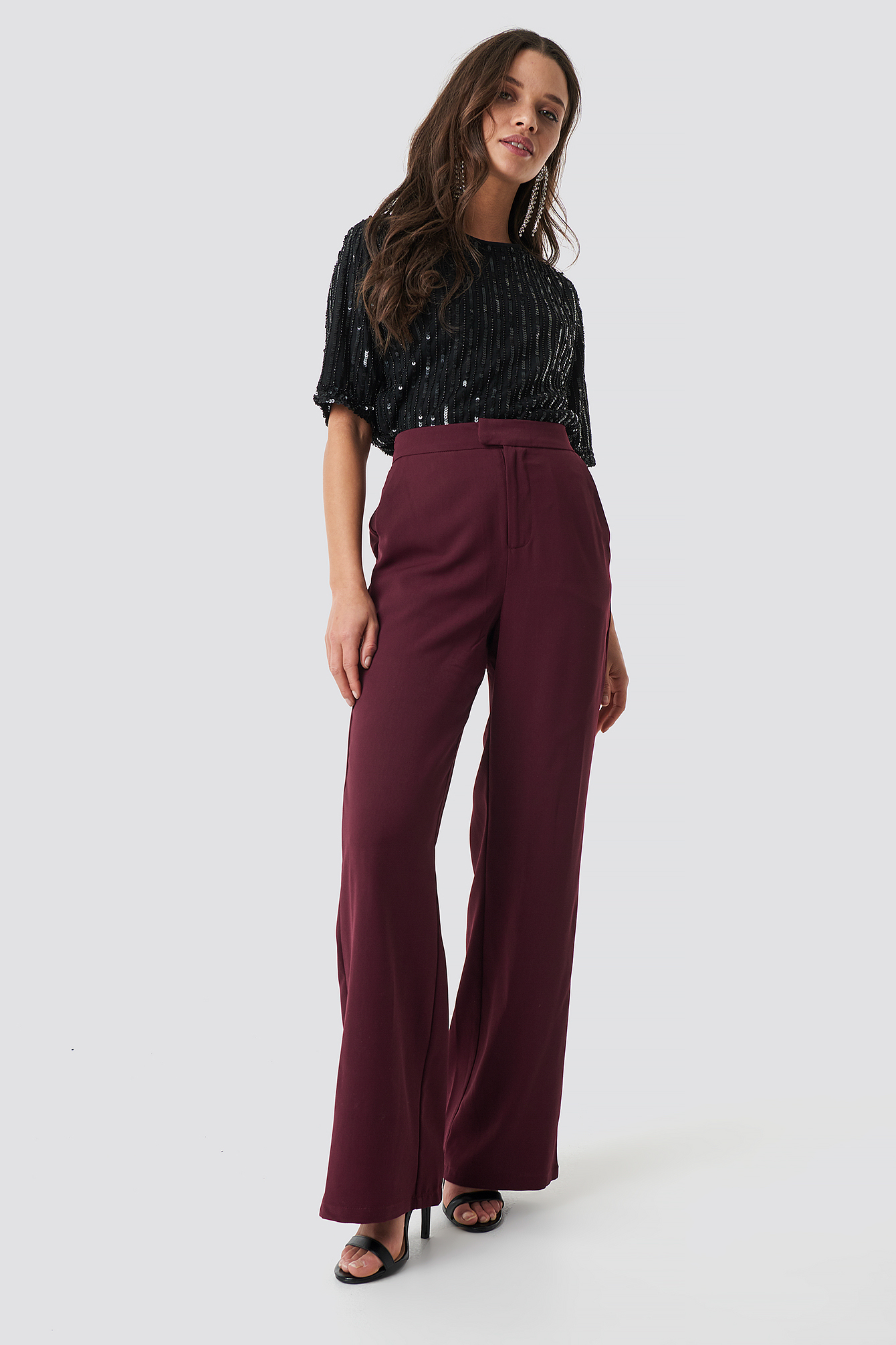 na-kd classic -  Wide Leg Tailored Pants - Red,Purple