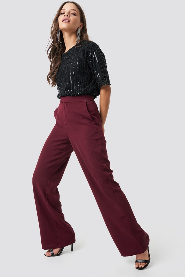 Wide Leg Tailored Pants Burgundy