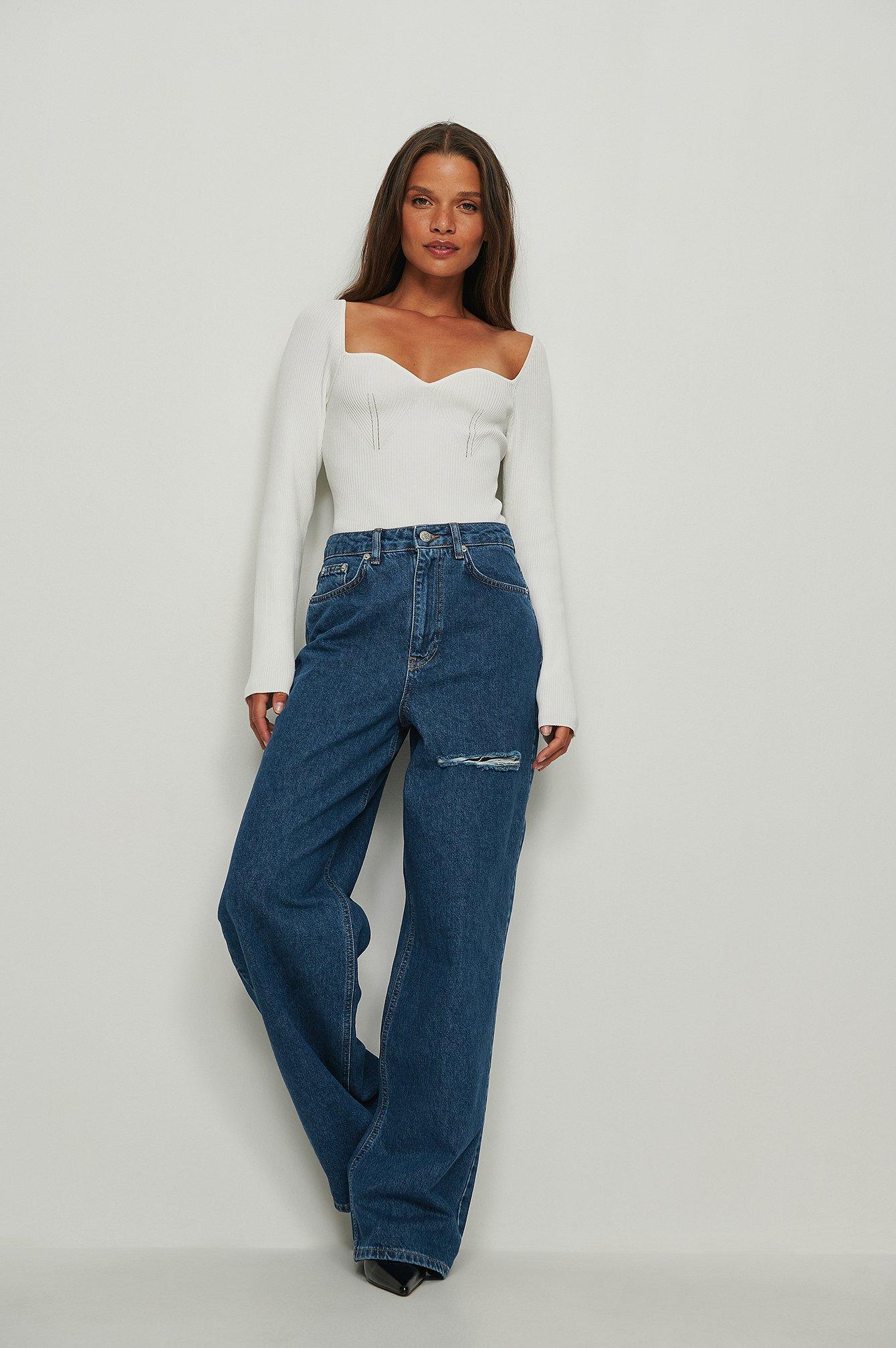 NA-KD Trend Økologiske jeans med vide ben og lårdetalje - Blue
