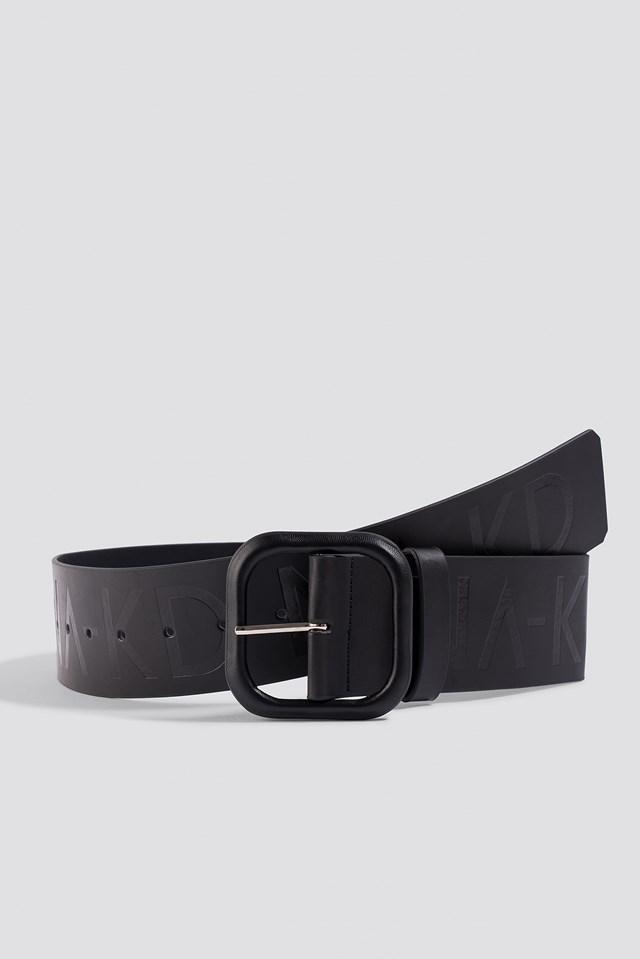 Wide NA-KD Logo Belt Black