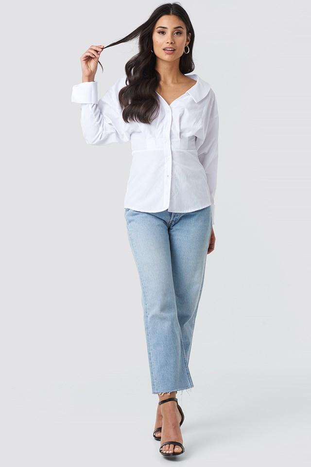 Wide Neck LS Shirt White