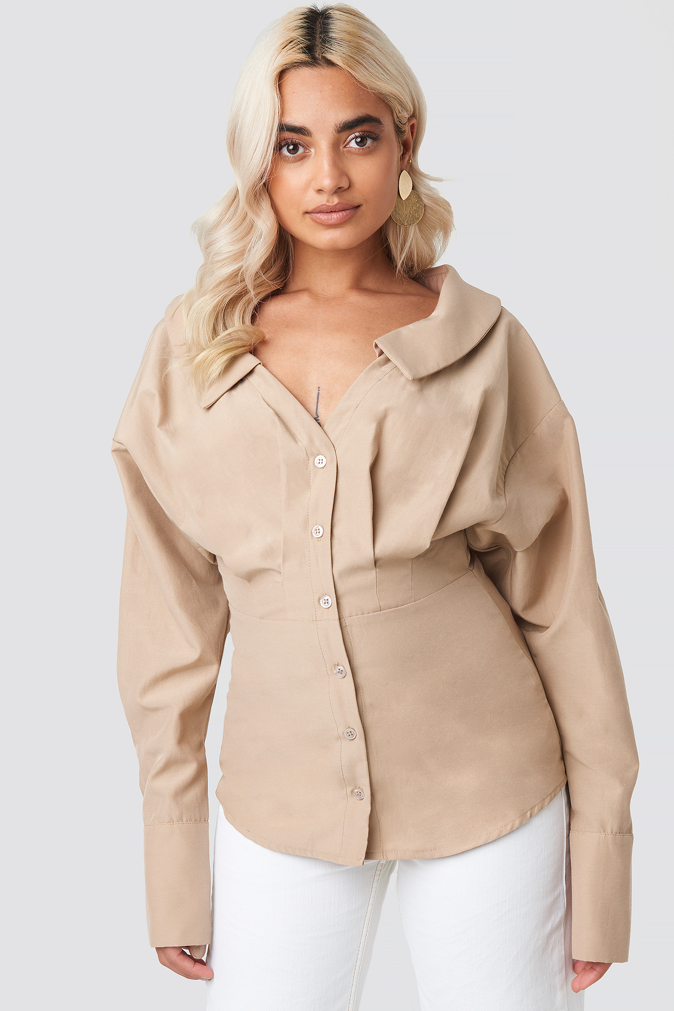 Beige Wide Neck LS Shirt