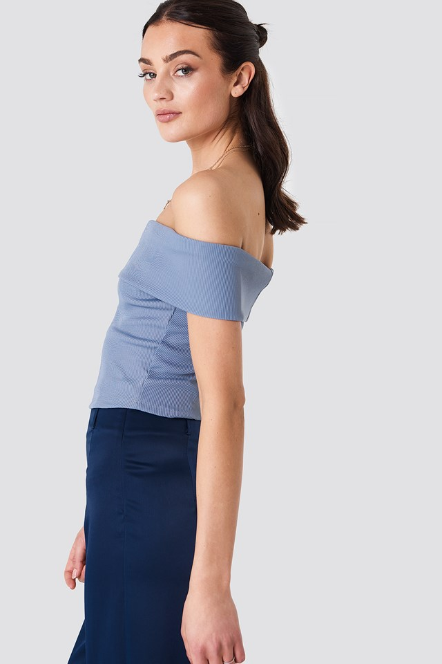 Wide Off Shoulder Cropped Top Stone Blue