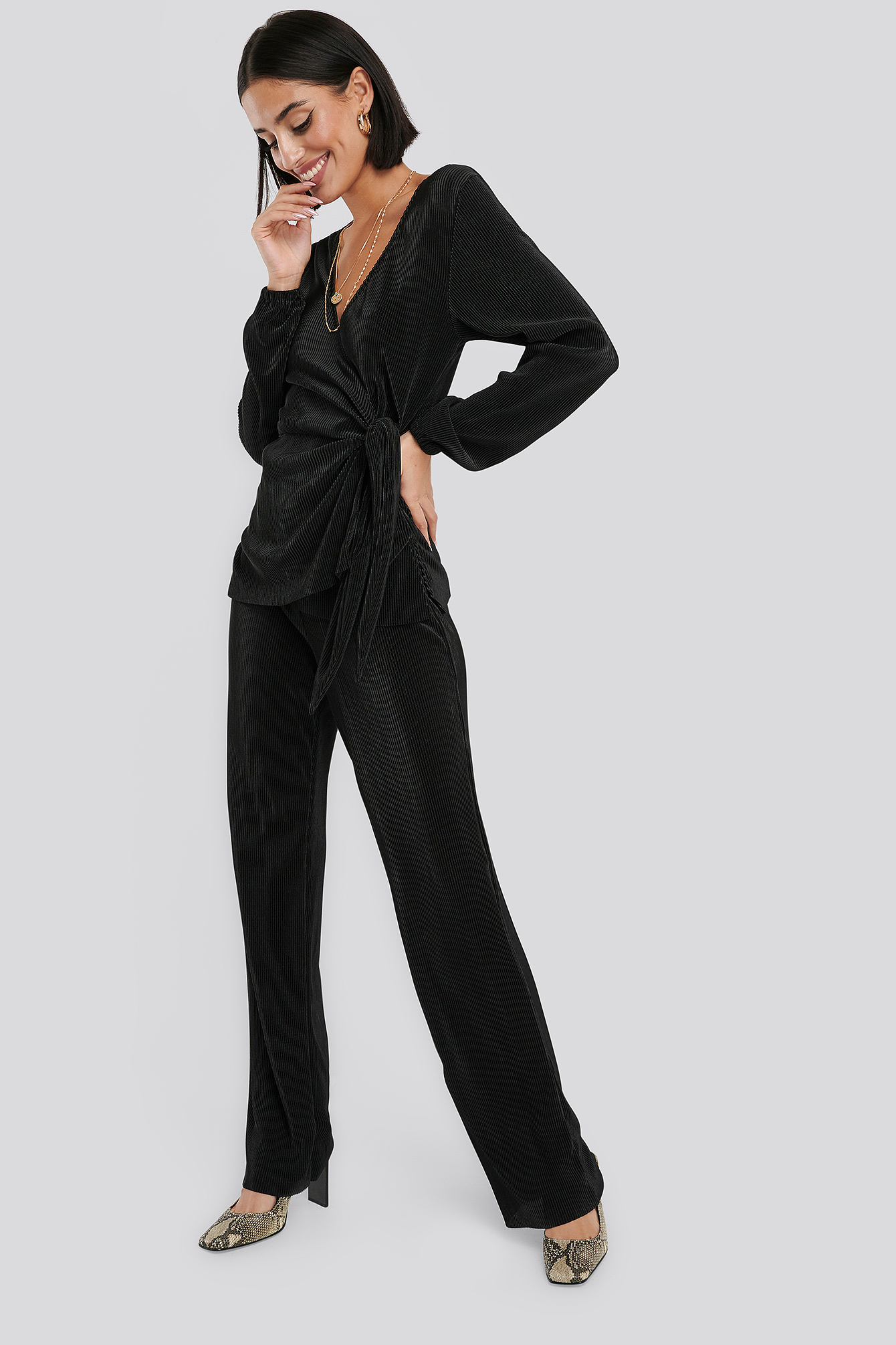 na-kd party -  Wide Pleated Trousers - Black