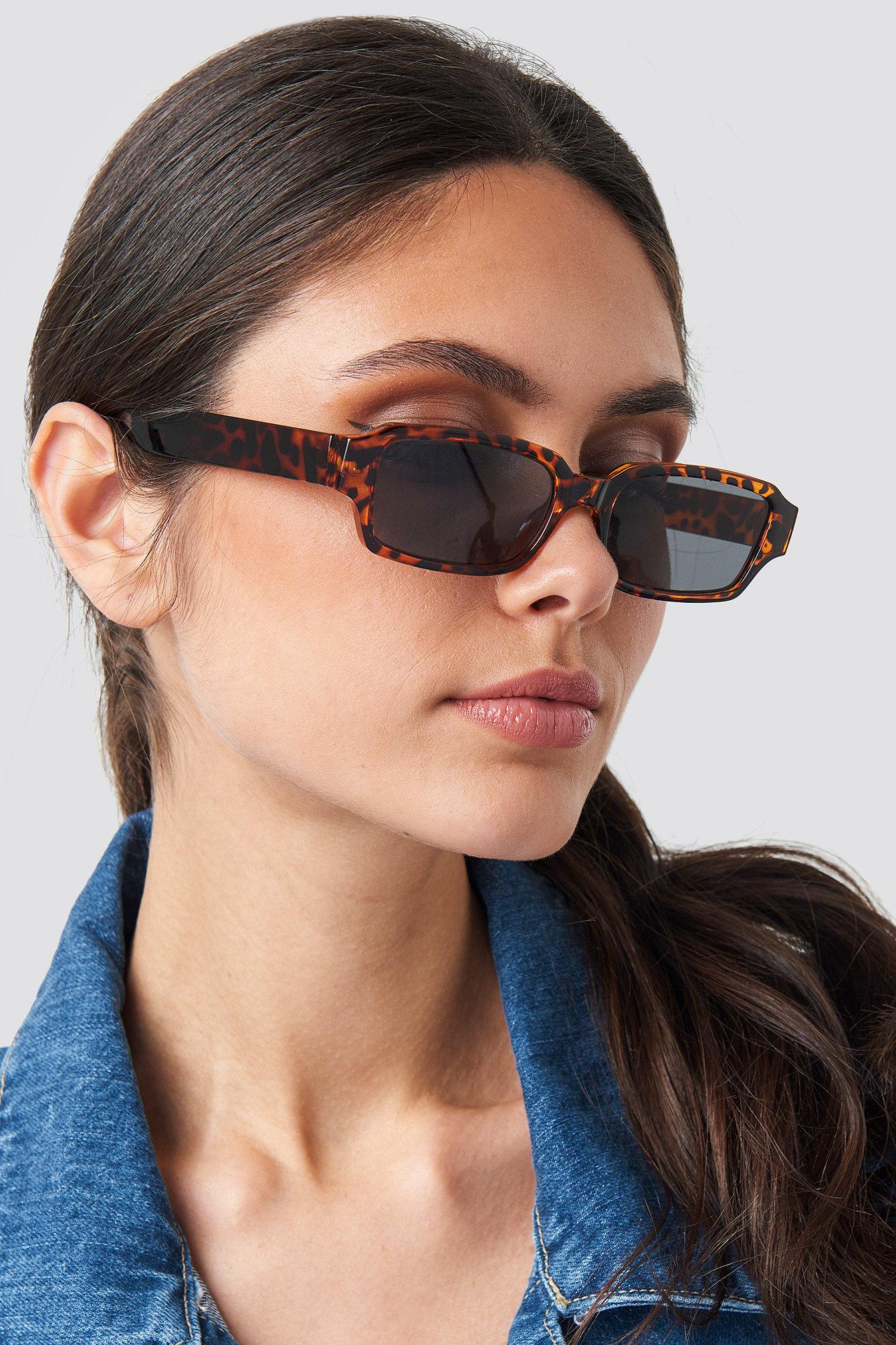 na-kd accessories -  Wide Rectangular Sunglasses - Brown