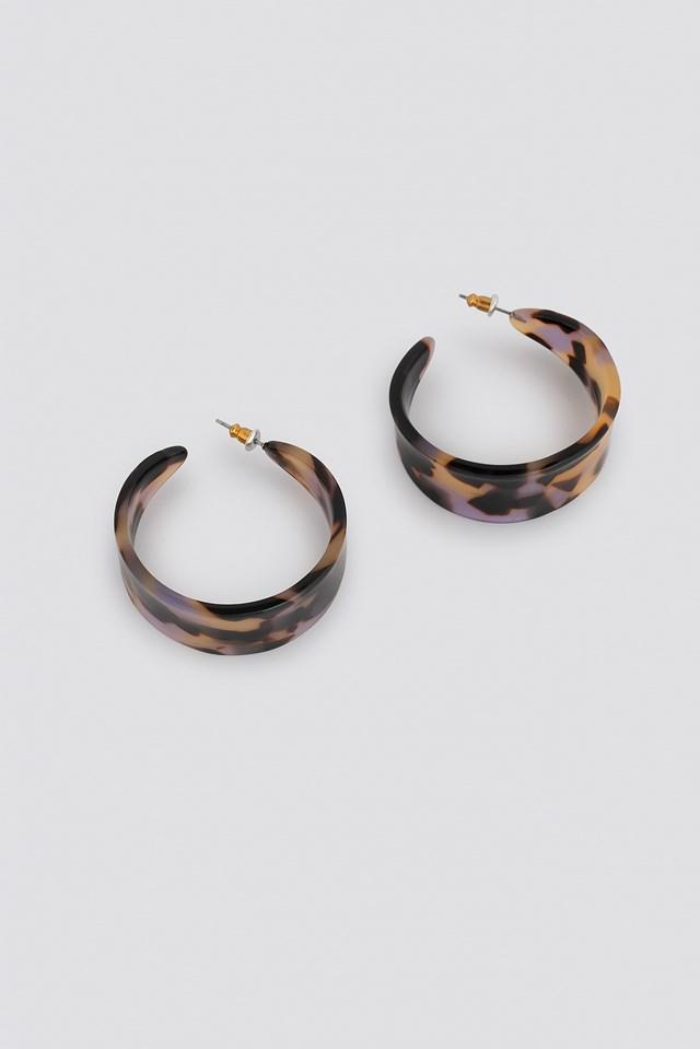 Wide Resin Hoop Earrings Tortoise