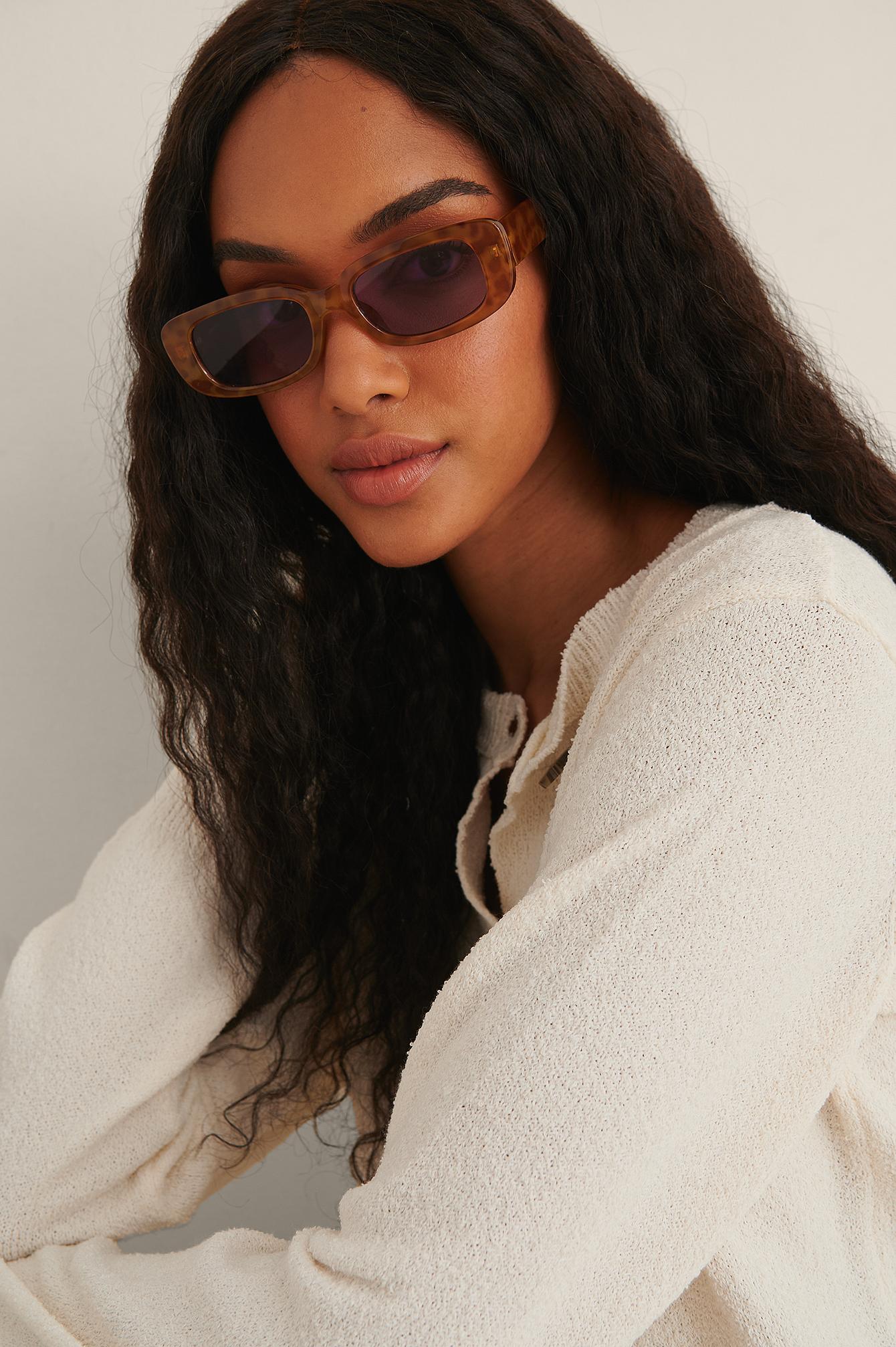 na-kd accessories -  Sonnenbrille Mit Breitem Retro-Brillengestell - Orange