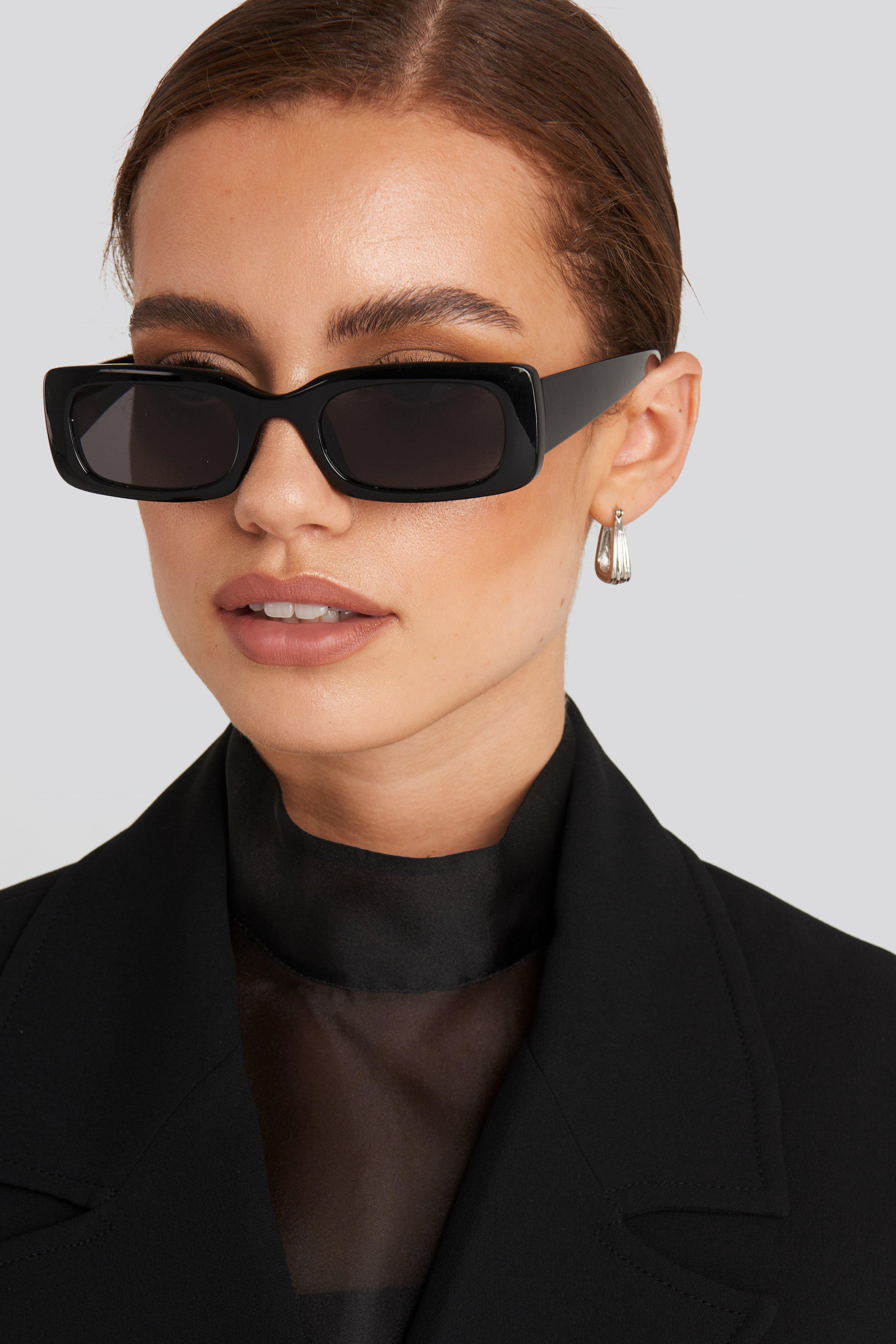 NA-KD Accessories Solbriller Med Brede Stænger - Black