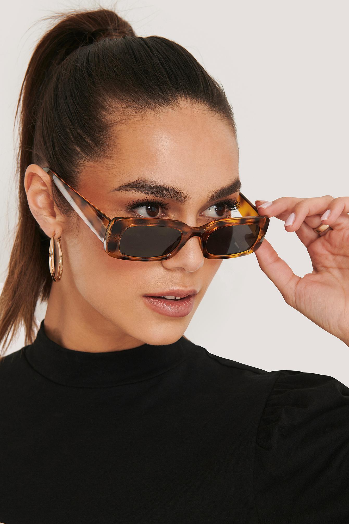 na-kd accessories -  Wide Retro Look Sunglasses - Brown