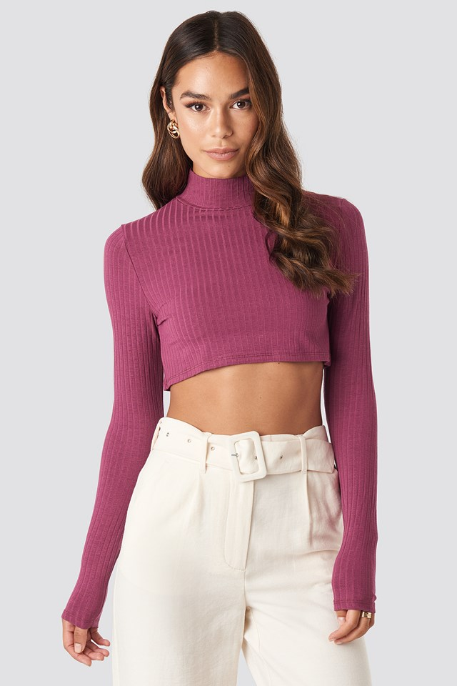 Wide Rib Polo Neck Long Sleeve Cropped Top Purple