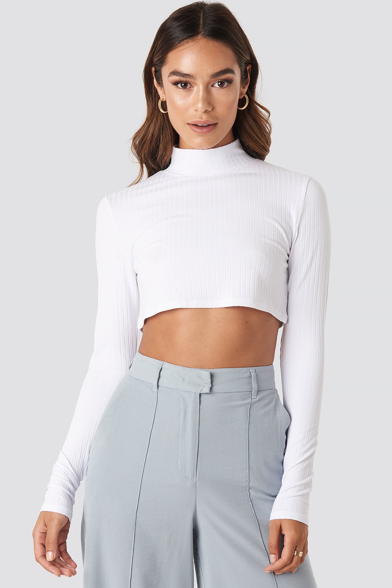 Wide Rib Polo Neck Long Sleeve Cropped Top White by Na Kd