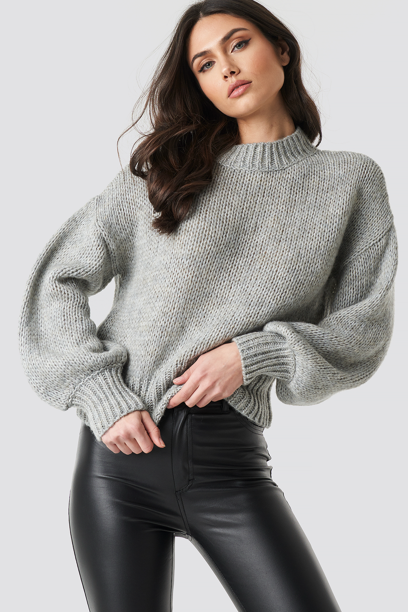 na-kd trend -  Wide Rib Short Knitted Sweater - Grey