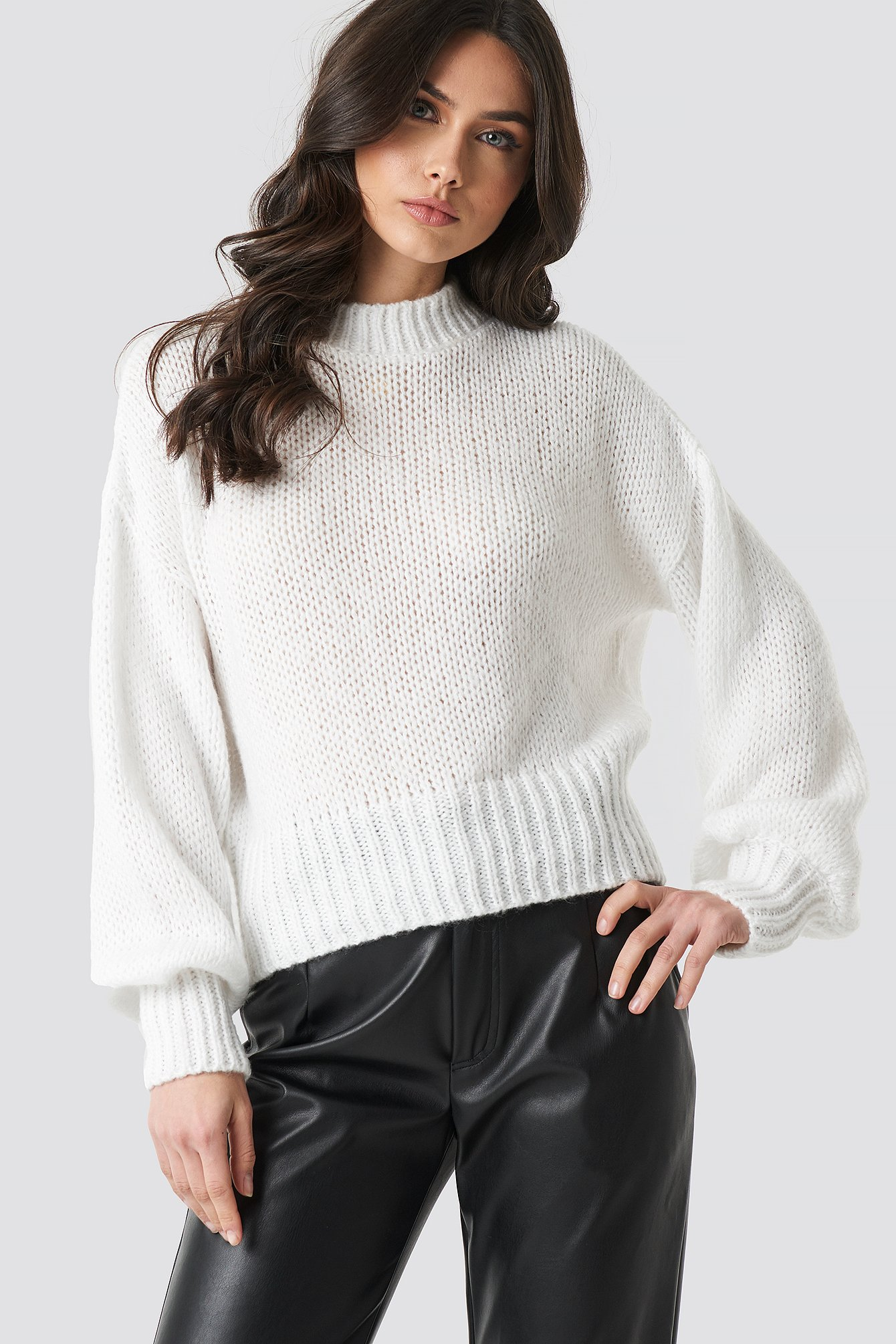 na-kd trend -  Wide Rib Short Knitted Sweater - White
