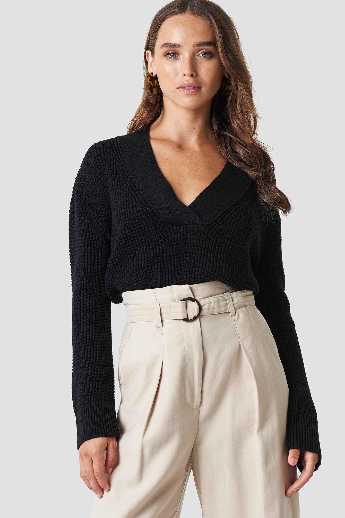 na-kd -  Wide Rib V-neck Knitted Sweater - Black