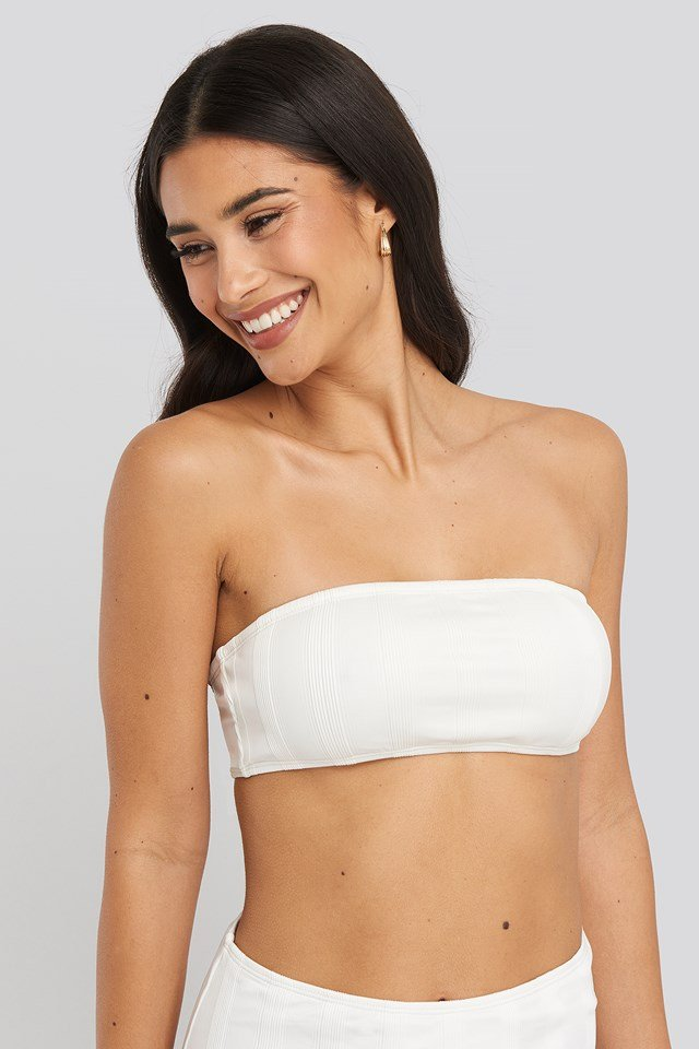 Wide Ribbed Bandeau Top White