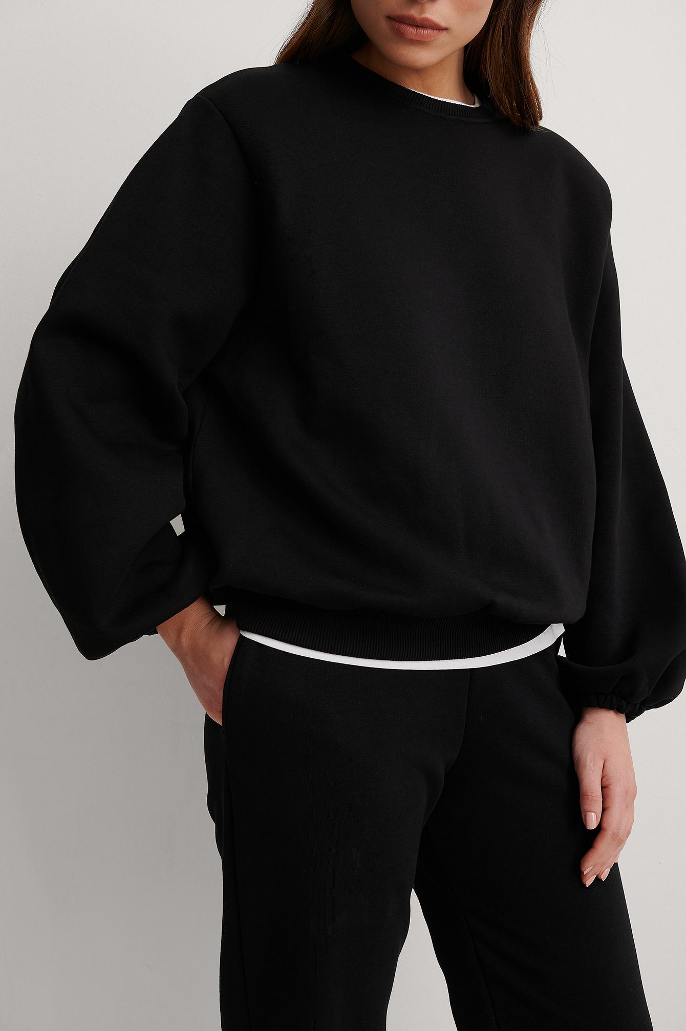 na-kd trend -  Organisch Jersey-Sweater Mit Weiter Schulter - Black