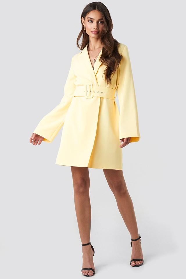 Wide Sleeve Belted Blazer Dress Light Yellow