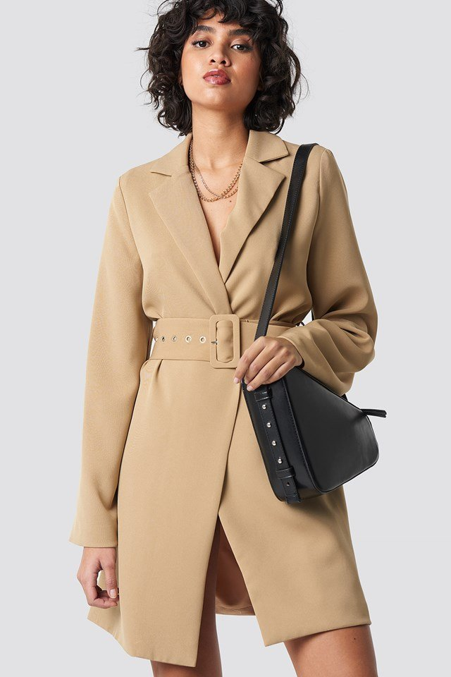 Wide Sleeve Belted Blazer Dress Beige