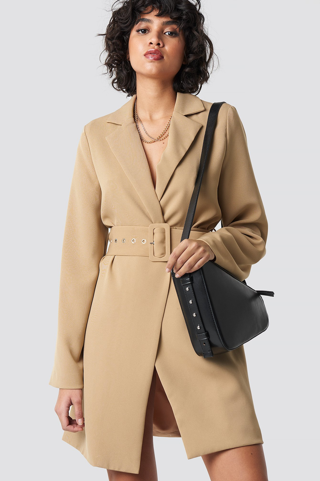 Wide Sleeve Belted Blazer Dress NA-KD.COM