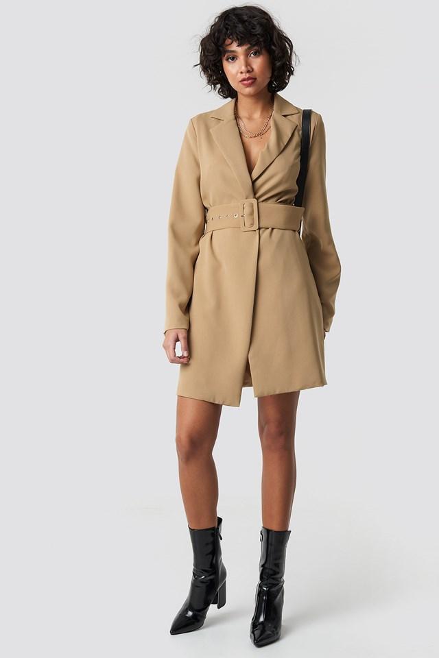 Wide Sleeve Belted Blazer Dress Beige