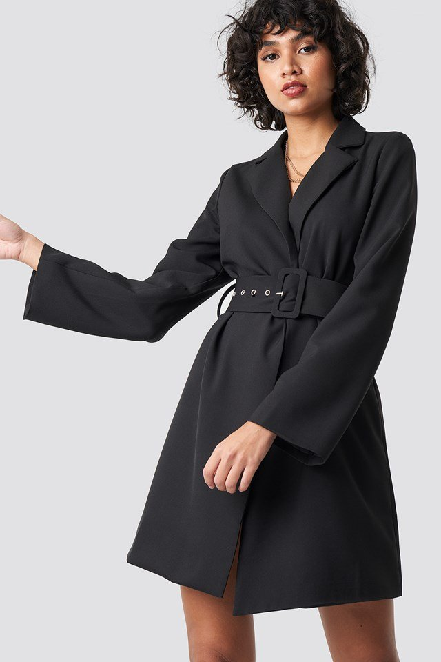 Wide Sleeve Belted Blazer Dress Black