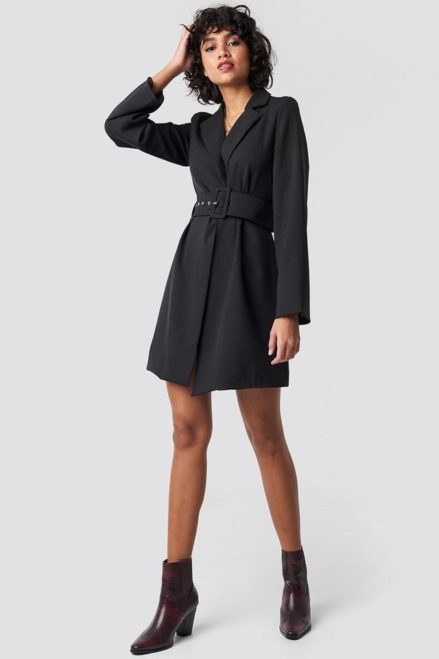 Wide Sleeve Belted Blazer Dress Black