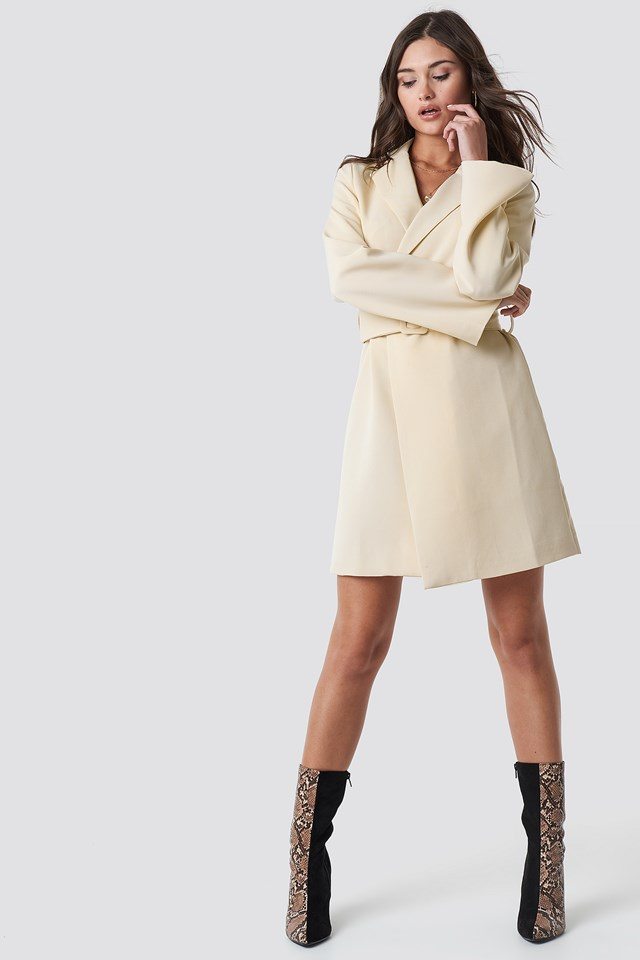 Wide Sleeve Belted Blazer Dress Off White