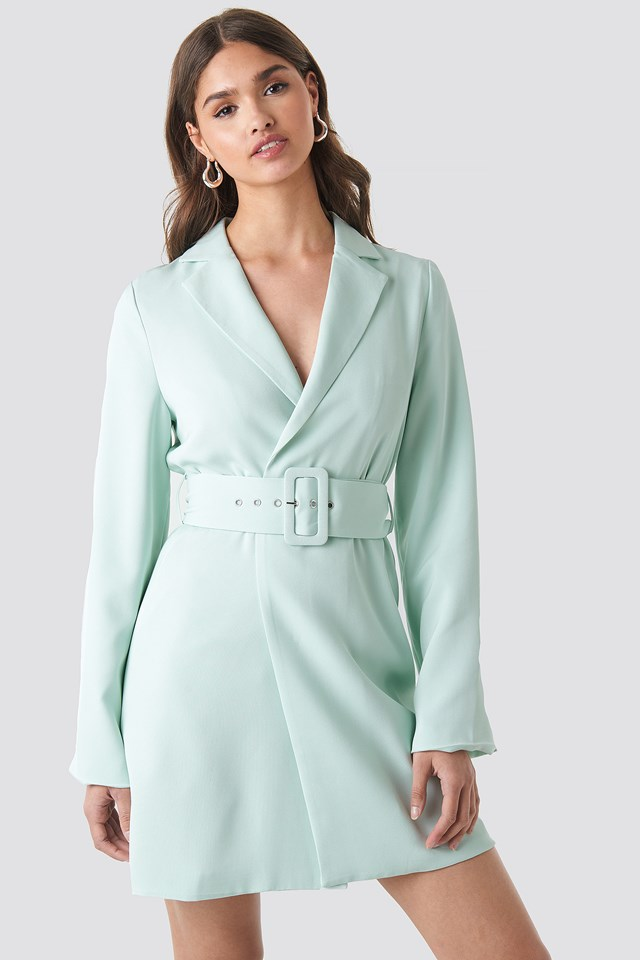 Wide Sleeve Belted Blazer Dress Pastel Blue