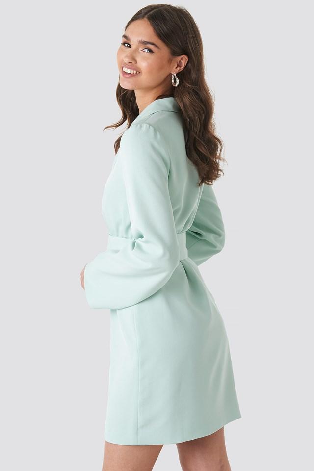 Wide Sleeve Belted Blazer Dress Pastel Blue