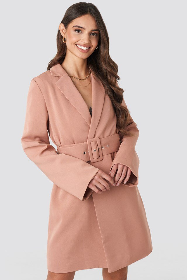 Wide Sleeve Belted Blazer Dress Dusty Pink
