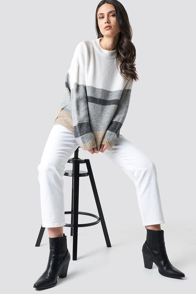 Wide Sleeve Blocked Colour Sweater White